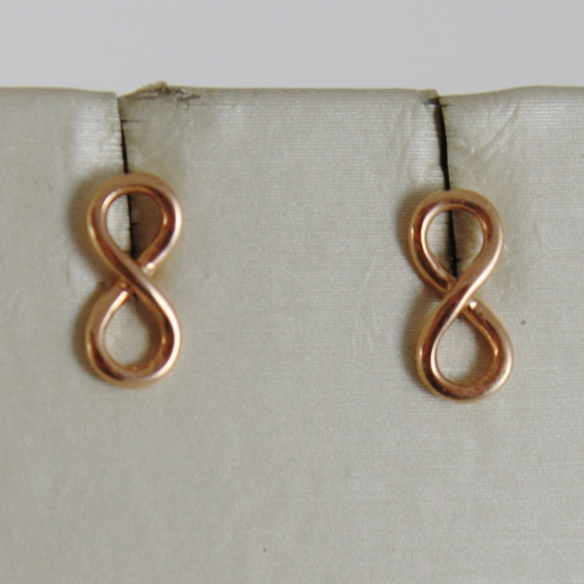 SOLID 18K ROSE GOLD EARRINGS WITH MINI INFINITY SYMBOL, INFINITE, MADE IN ITALY