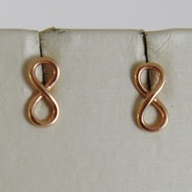 SOLID 18K ROSE GOLD EARRINGS WITH MINI INFINITY SYMBOL, INFINITE, MADE IN ITALY image 1