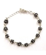 ANTIQUE BLACKENED SILVER PLATED CHARM BRACELET, ROSES FLOWERS SMALL ADJU... - $12.60