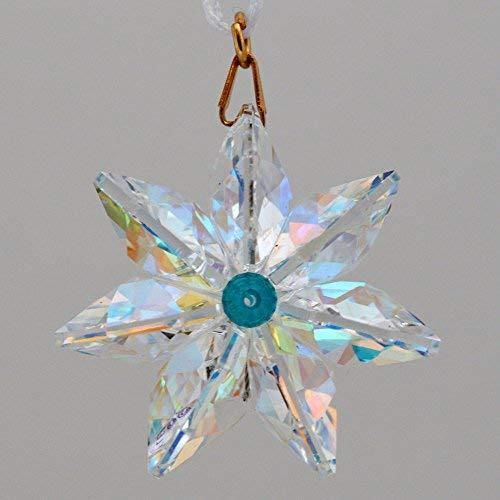 J'Leen Aurora Borealis Crystal Daisy Blue Zircon Center