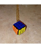 Miniature Rubik's Cube Charm Necklace Gold Tone Wire Retro Toys Kids Cla... - $7.00
