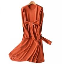 Spring Autumn Dresses Women Cashmere Blending Round Collar Casual Long  Dress  - $46.55