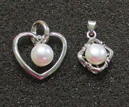Vintage Cultured Pearl Pendants White Gold Plated - $5.95