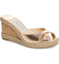 JIMMY CHOO Almer Wedge Slide Sandals Size 35.5 - $346.49