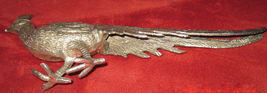 Vintage Pewter Peacock Long Trailing Tail Figurine Statuette Miniature Italy image 3