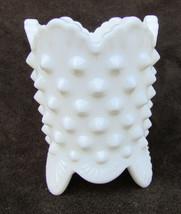 Fenton white hobnail toothpick holder footed scalloped edge milk glass - $9.50
