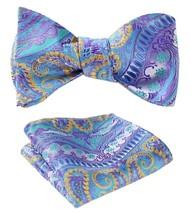 SetSense Men's Paisley Jacquard Woven Self Bow Tie Set One Size Blue / Yellow /  - $27.00