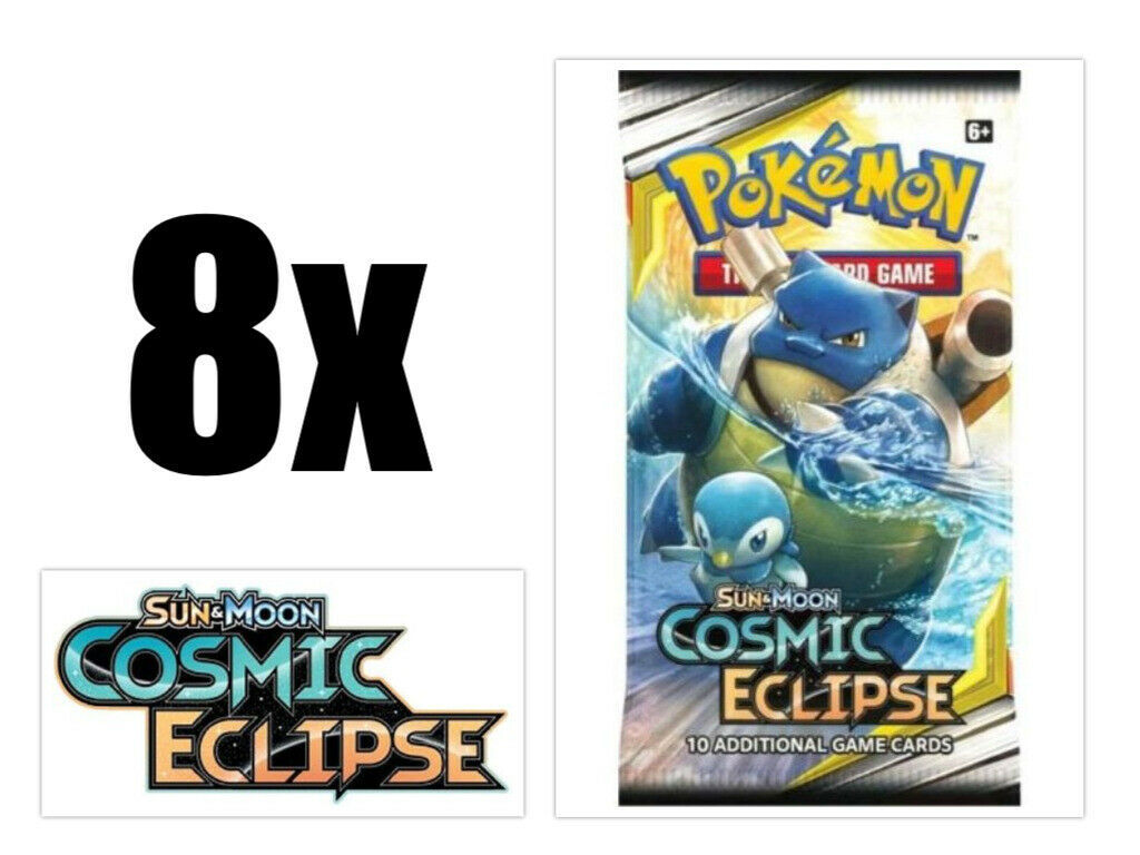 Pokemon Cards Sun & Moon Cosmic Eclipse 8 Booster Pack Lot Pokemon TCG Game