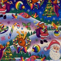 MINT GLOSSY COMPLETE S351 Lisa Frank Christmas Holiday Themed Stickers Santa  image 2