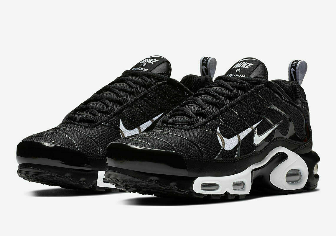 MEN'S NIKE AIR MAX PLUS PRM SHOES black white 815994 004