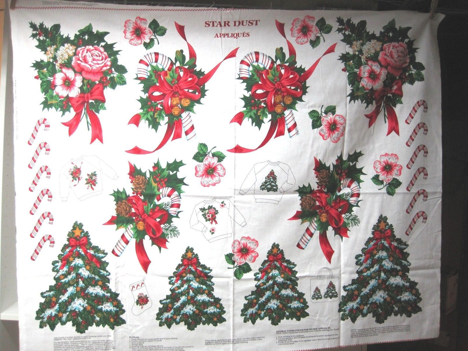 Vip Cranston Christmas Star Dust Applique Sewing Kit Panel Candy Cane +  T64 - $14.36