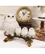 Ebros Snowy Tundra White Owl Perching On Tree Branch With 3 Baby Owlets ... - €33,37 EUR