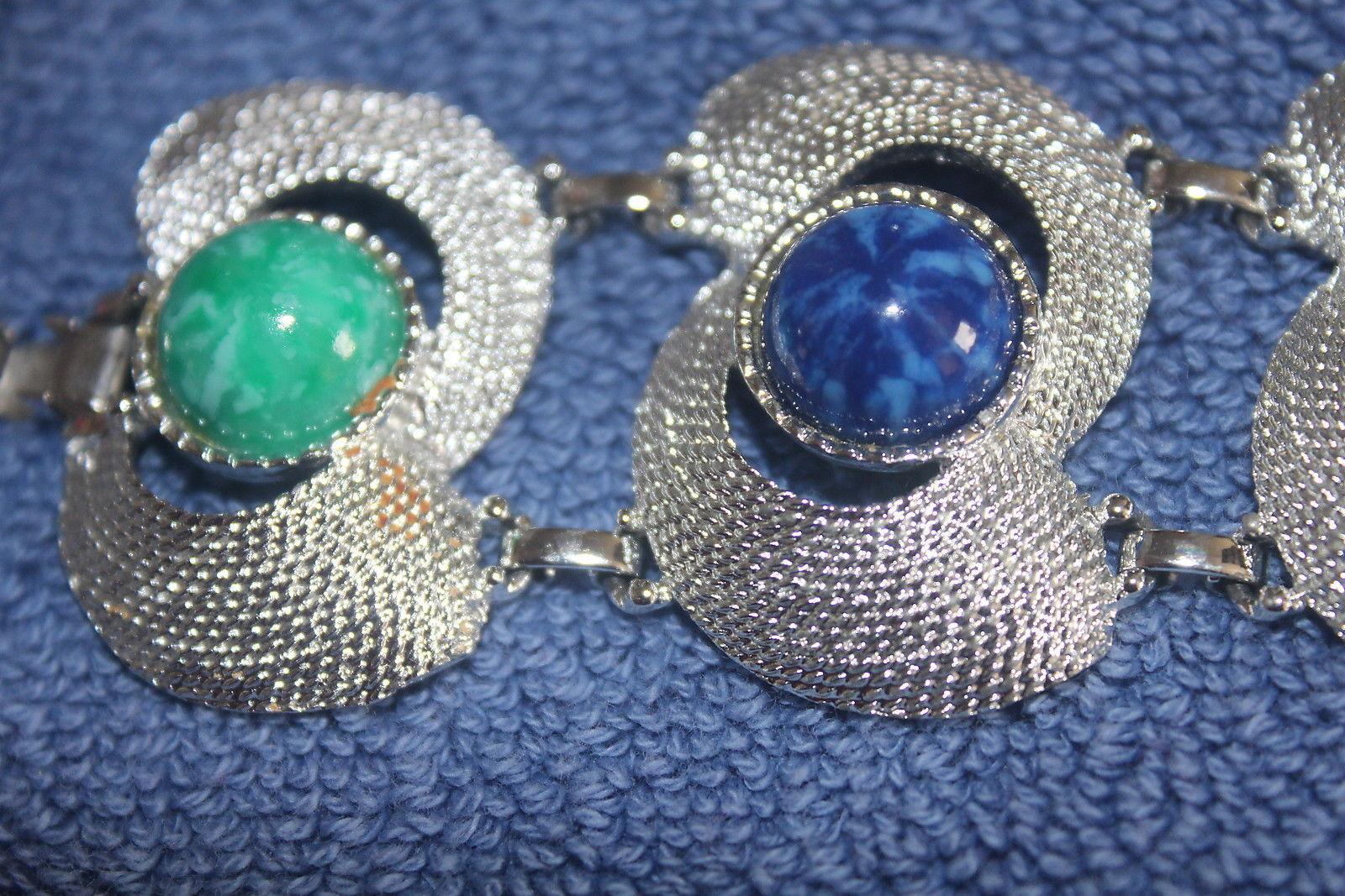 Sarah Cov Silver Tone Bracelet & Earrings Matching Set Colored Stones