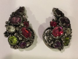 Vintage signed Hollycraft clip on earrings green red purple clear stones  - $34.60
