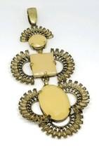 Peach Rhinestone Gold Tone Large Statement Runway Gold Tone Dangle Pendant - $29.69