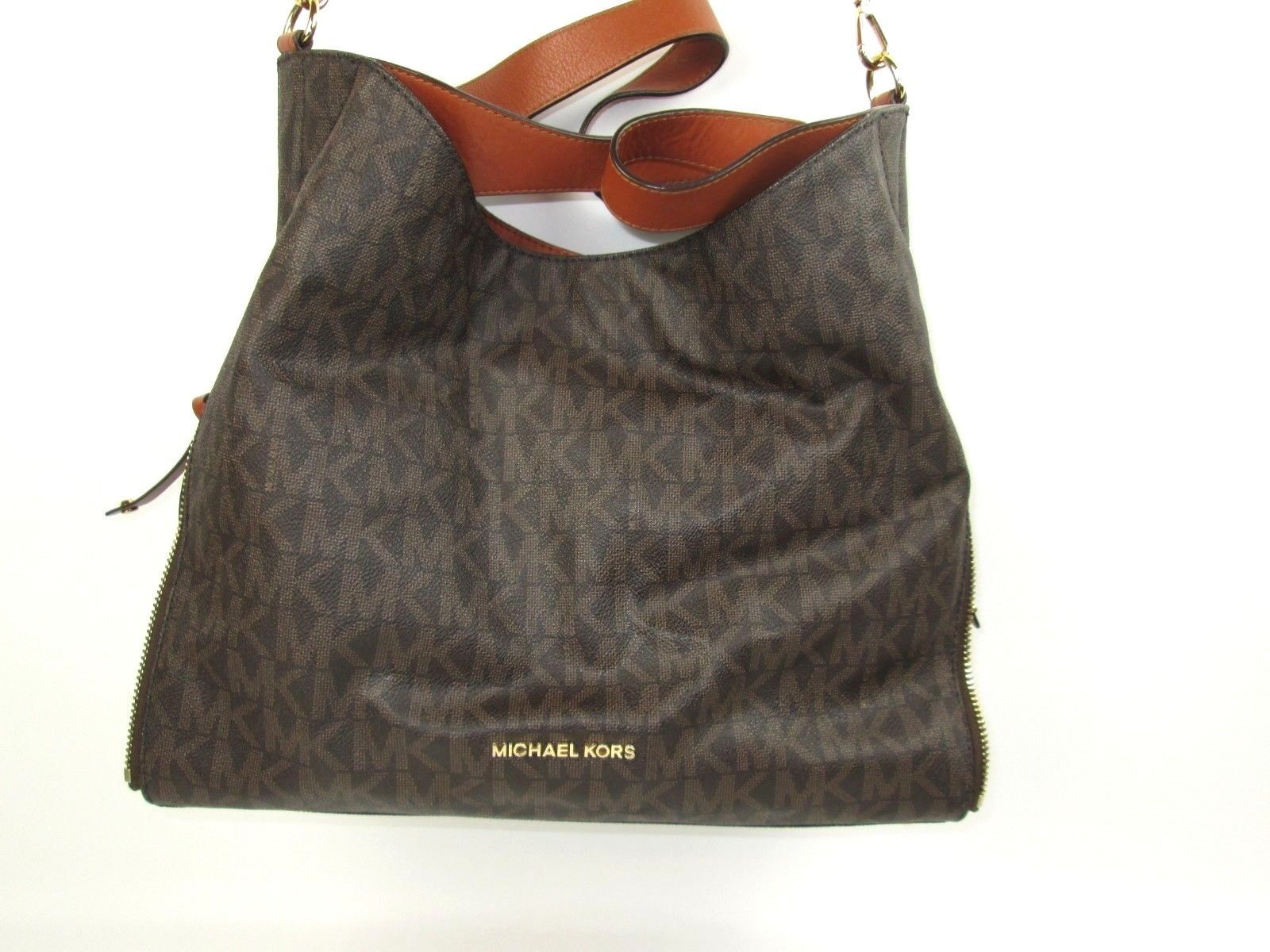 8e6c4af6db4f 57. 57. Previous. MICHAEL KORS Signature Devon Mocha Large Shoulder Tote  Bag Purse Brown Wonderful