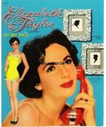 VINTAGE UNCUT 1950 ELIZABETH TAYLOR PAPER DOLLS~#1 REPRODUCTION~BEAUTIFU... - $17.50