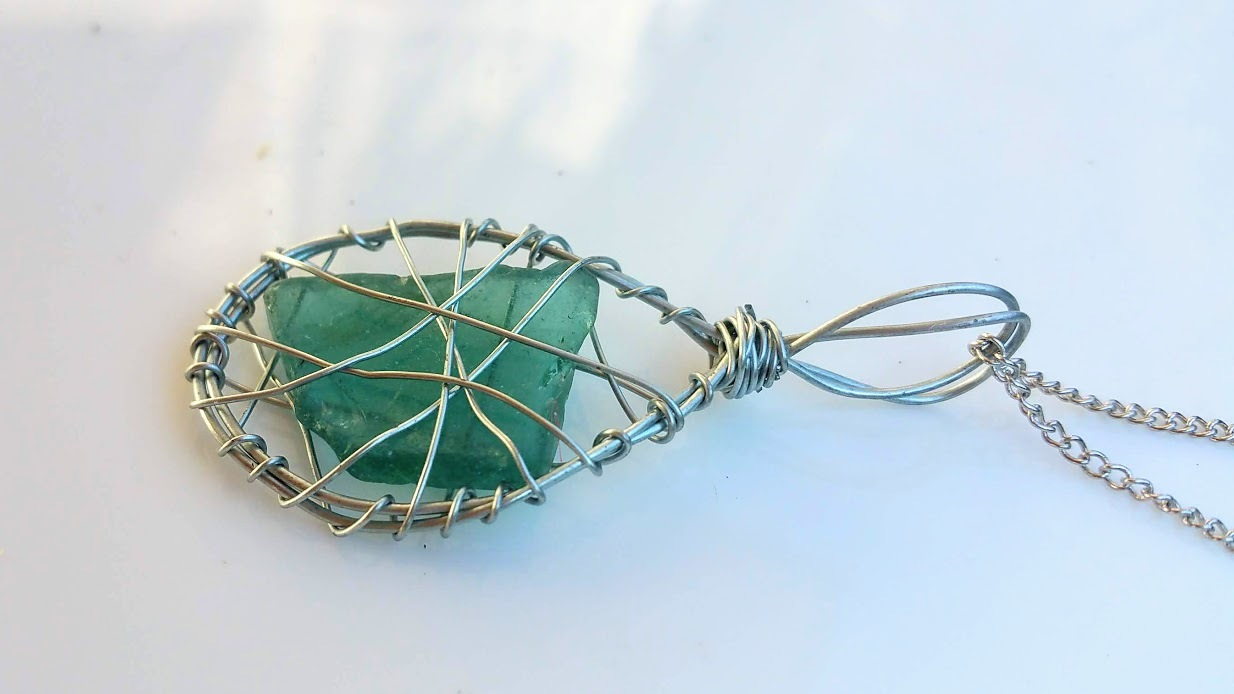 Star Twins necklace: Authentic Estonian sea glass, tear drop shape wirework