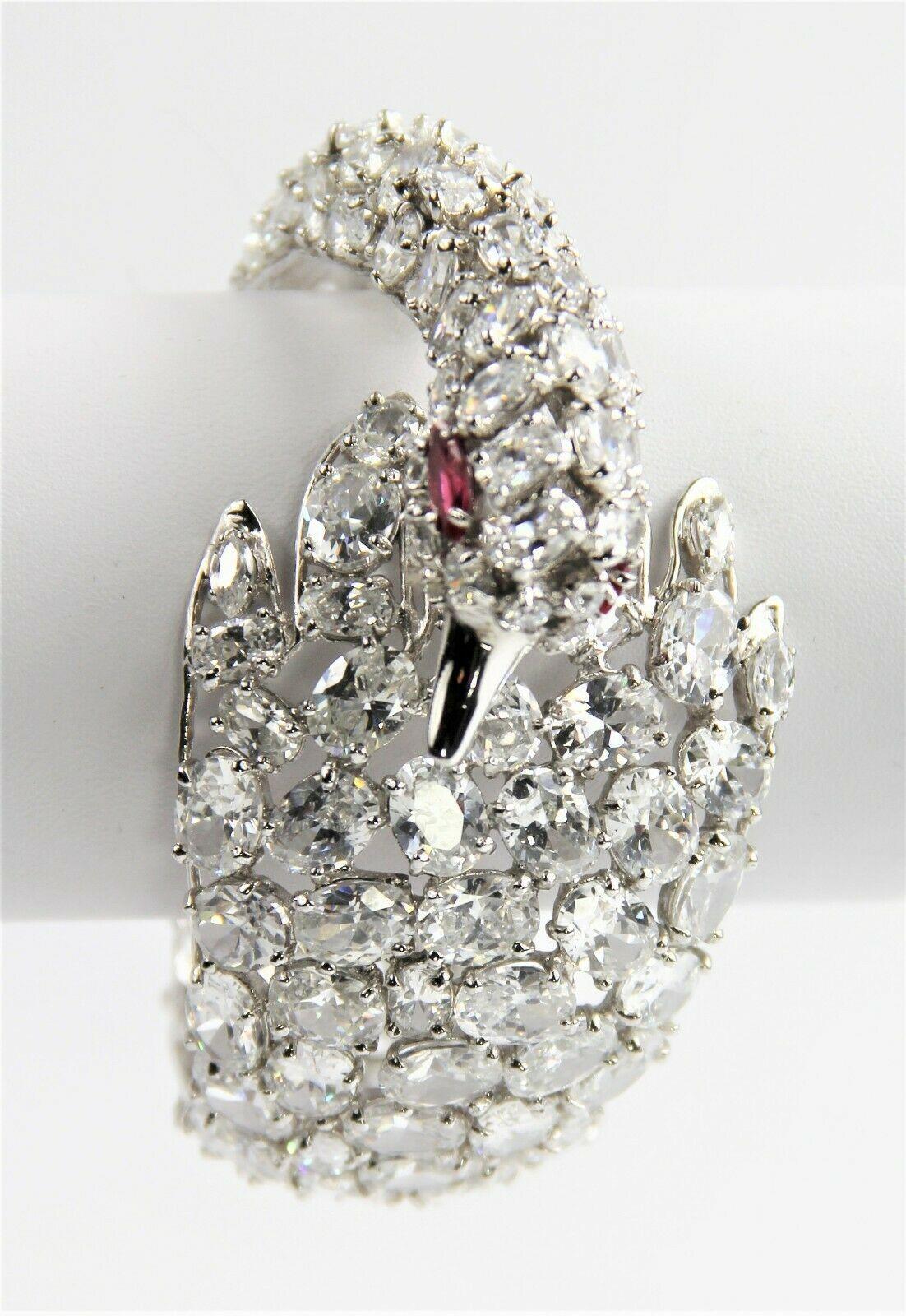 ESTATE VINTAGE Jewelry JARIN K RARE SWAN HINGED BANGLE BRACELET RUBY EYES & CZ