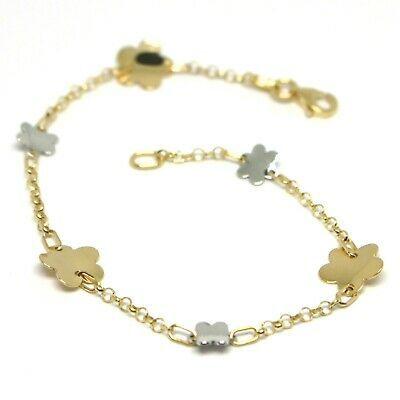 Bracelet or Jaune Blanc 18K 750, Fleurs, Marguerites Ondulées, 18 CM
