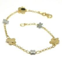 Bracelet or Jaune Blanc 18K 750, Fleurs, Marguerites Ondulées, 18 CM image 1