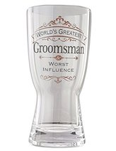 "Enesco Insignia from Eneso Groomsman Beer Glass, 7.375"", Clear"