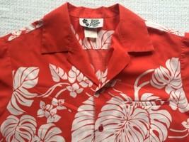 Vtg. '70s Hilo Hattie Men's Orange Red Floral Hawaiian Shirt - Large - $25.95