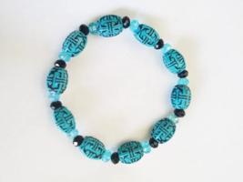 blue black beaded bracelet stretch acrylic glass bead western boho jewel... - $2.99