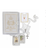 GIRL'S COMMUNION SET WITH WHITE MASS BOOK CLOTH SCAPULAR ROSARY AND PIN - $47.49