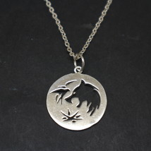 Sterling Silver Wolf Head Witcher Wizard Necklace Pendant - $42.00