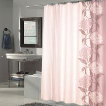 """Beautiful Flower Stripe Motif Extra Long Fabric Shower Curtain 84"""" x 70""""... - $20.69"""