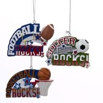 "Kurt Adler 3.5"" Red, White and Blue Football Rocks Sports Christmas Orna... - $8.65"