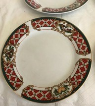 WINDSOR Gibson China Christmas Green Red Checked Rocking Horse Salad Plates (4) image 2