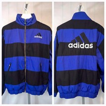 VTG 90's Adidas Three Striped Blue Black Weight Full Zip Jacket Sz M Med... - $74.24
