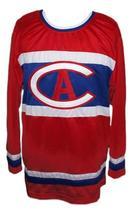 Custom # Montreal Retro Hockey Jersey New Red Any Size image 1