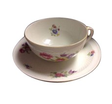 Eschenbach German Germany US Zone Roswitha Floral Tea Cup Saucer China TR-5 - $33.66