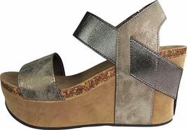 Pierre Dumas Hester-1 Pewter Women's Platform Wedge Sandal 22608 - $38.95
