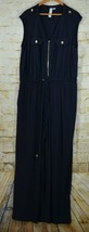 Emma & Michele Jumpsuit Size 2X Navy Blue Gold Zipper Buttons Sleeveless  - $29.69