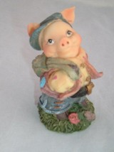 VTG collectible little pig with backpack resin figurine country kitsch k... - $5.24