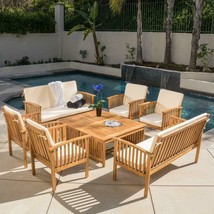 Casual Outdoor Patio Furniture  8-pc Wood Stained Finish Sofa Seating Se... - $833.38