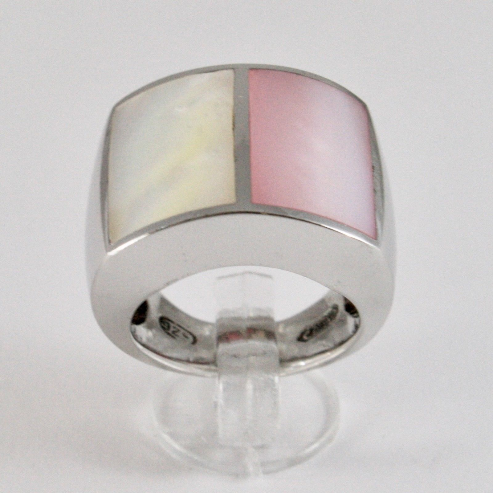 WIDE RING 925 SILVER WITH NACRE RECTANGULAR WHITE AND PINK