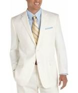 Calvin Klein Mens Blazer Sz 40 SHORT Cream Beige Stitch Detail Suit Jacket  - $128.62