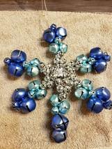 Christmas Ornament Jingle Bells Silver Blue Metal Star Shaped FS - $16.82