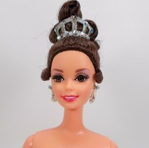 Barbie Collector Doll Brunette Updo Rooted Lashes Crown Earrings - $24.74