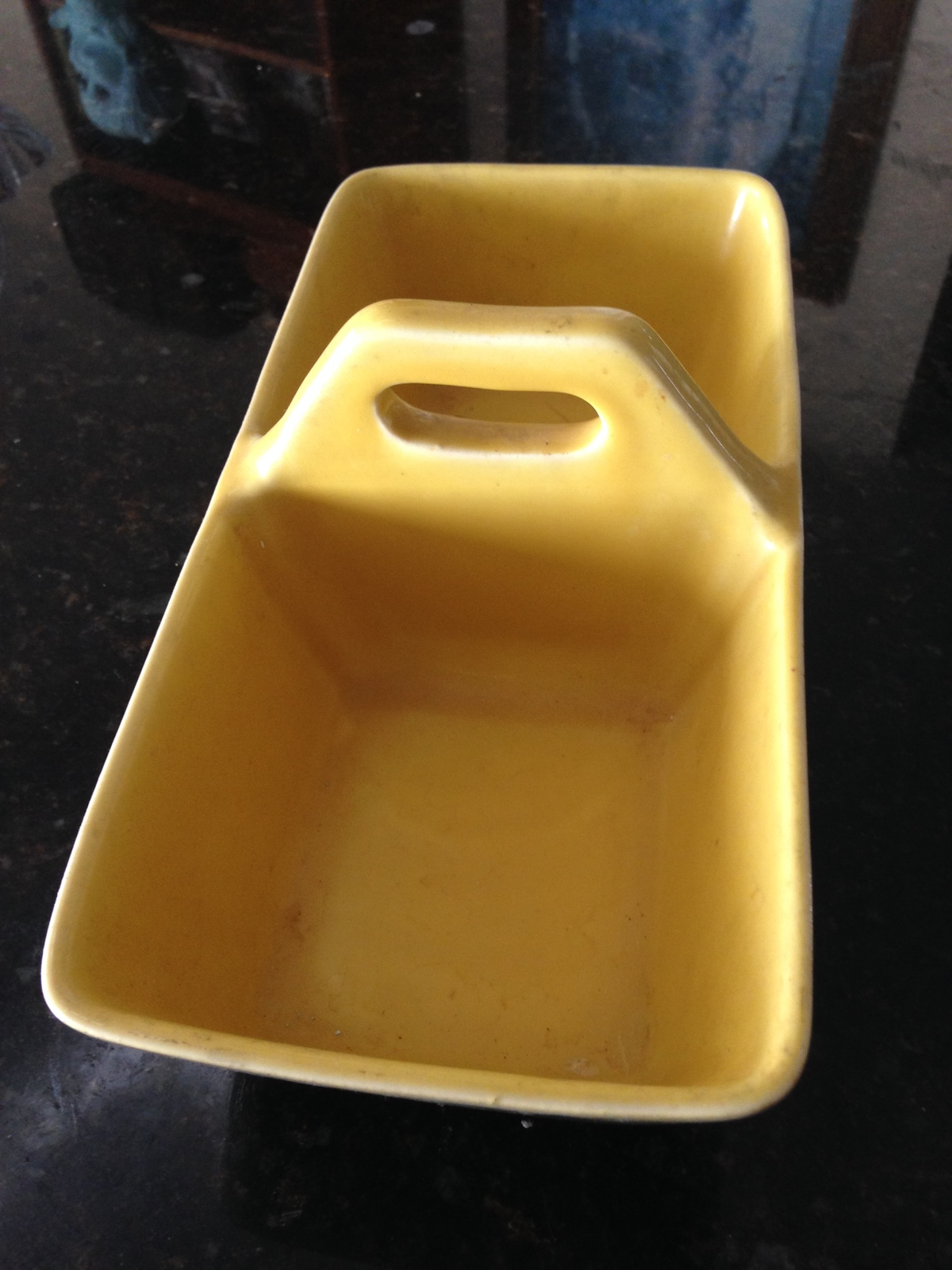 "Yellow ceramic piece Divided With Handle Approx 12"" - $44.99"