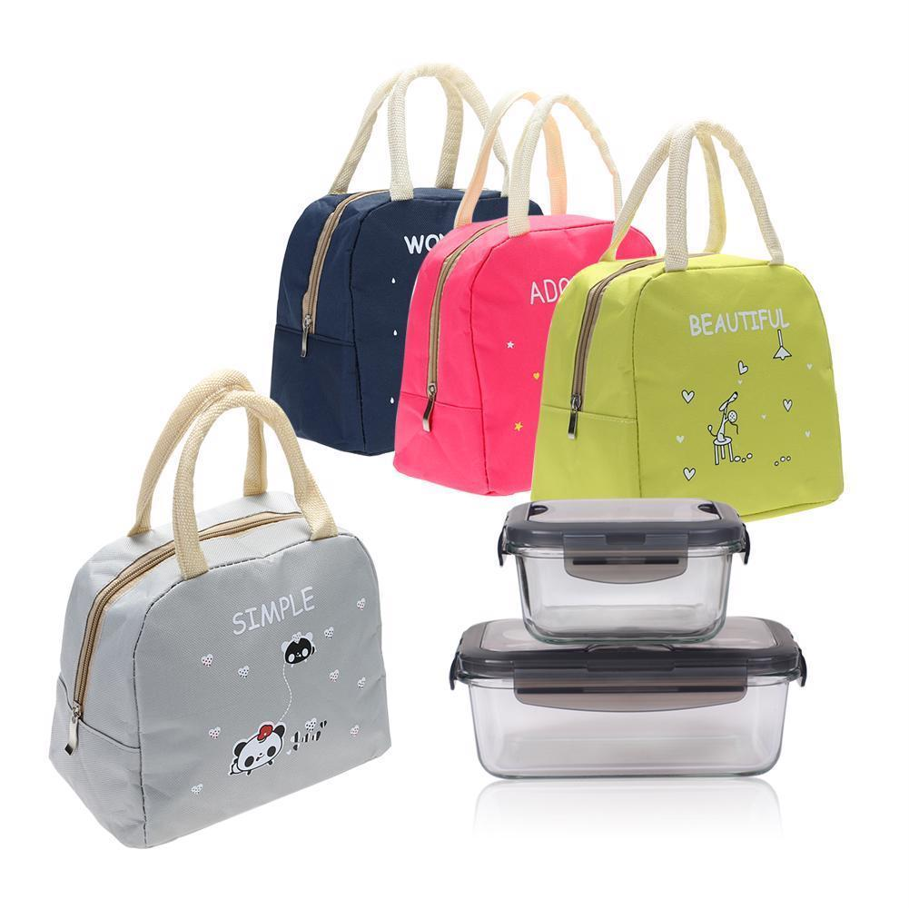 Lunch Bag Kitchen Organizer Insulated Picnic Bags School Food Holder Storage