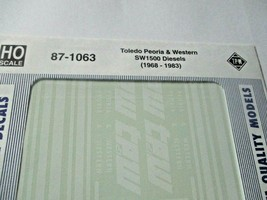 Microscale Decals Stock # 87-1063 Toledo Peoria & Western SW1500 Diesels   HO image 2