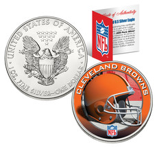 CLEVELAND BROWNS 1 Oz American Silver Eagle $1 US Coin Colorized NFL LIC... - $49.45