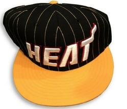 New NWT Miami Heat adidas Originals Black Pinstripe Snapback Hat  - $18.76