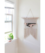 Pink and Olive Wool and Cotton Macrame Wall Hanging - $55.00